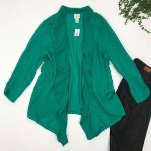 Chico's | Green Solid Ruffle Cardigan Medium